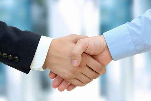 Handshake between business professionals