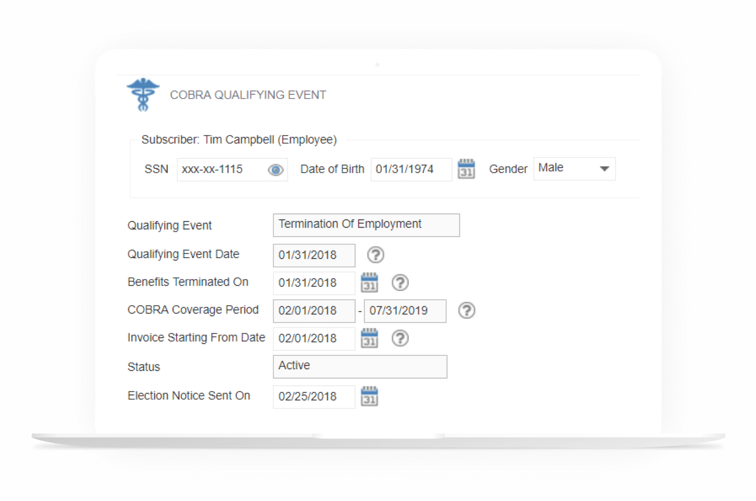Review COBRA Qualifying Events in our Cobra Administration Software Dashboard
