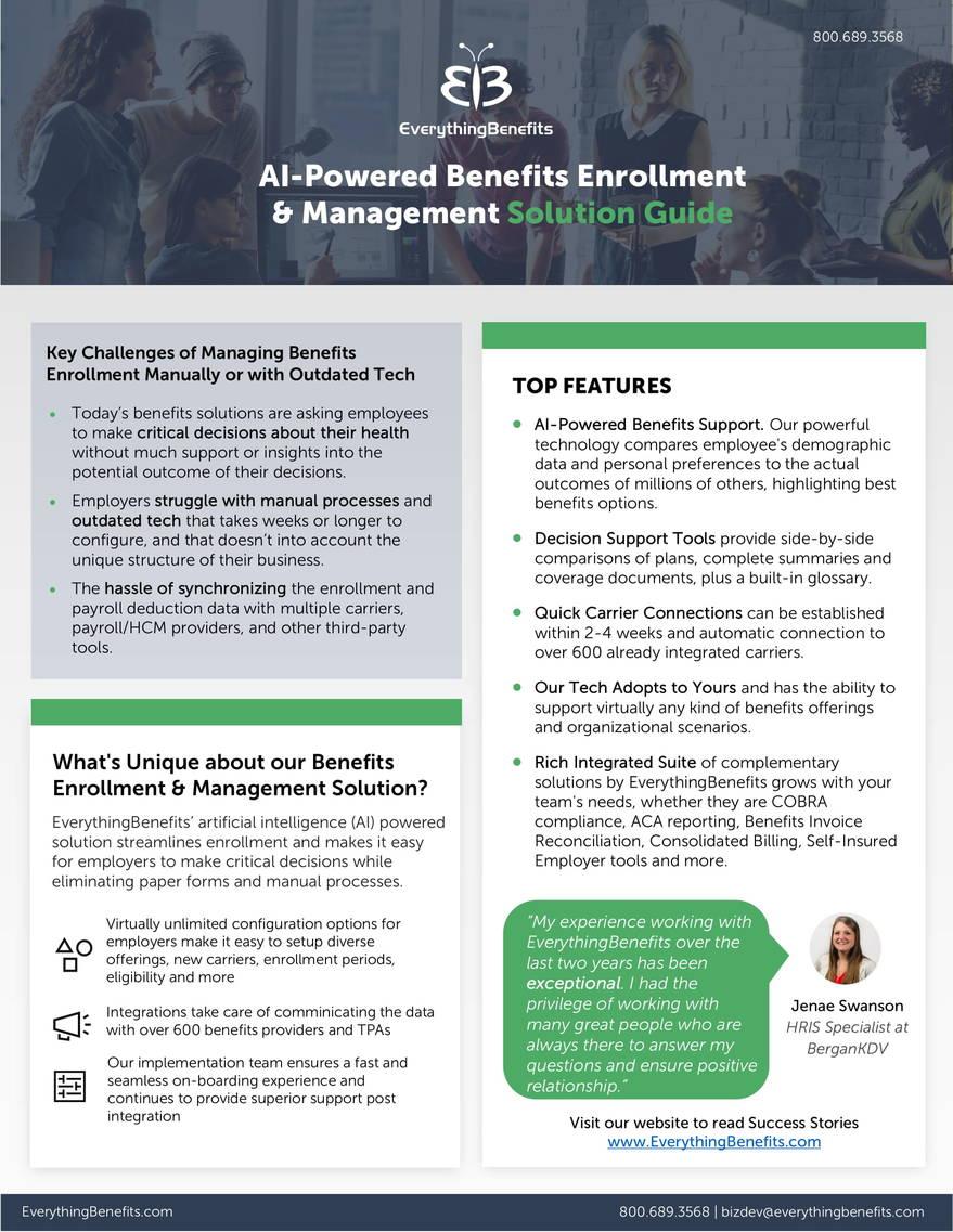 Benefits Enrollment cutsheets