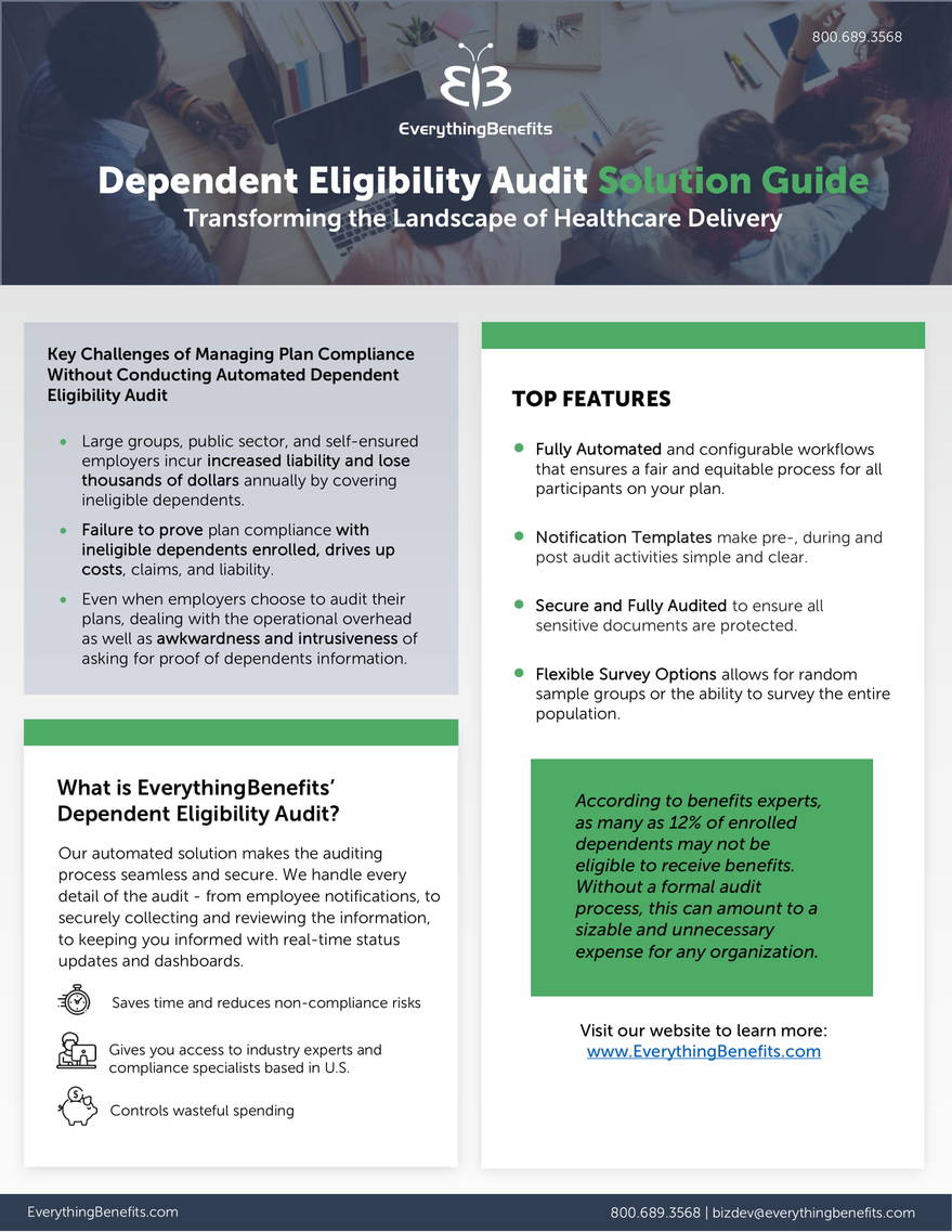 Dependent Eligibility Audit cutsheet